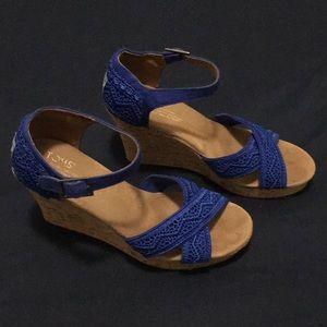 Toms Cobalt Blue Embroidered Wedges 7.5